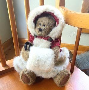 BOYDS BEAR snow bear with fur coat and muffler